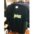 T-Shirt (Girlie) Jesus. beige auf schwarz