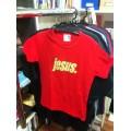 T-Shirt (Girlie) Jesus. beige auf rot