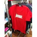 T-Shirt (Girlie) Jesus. creme auf rot