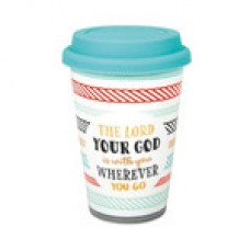 """Becher to go """"Bunte Streifen"""": The Lord your God is with you wherever you go"""