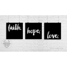 Poster (3er-Set) faith, hope, love (schwarz)