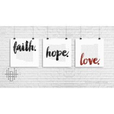 Poster (3er-Set) faith, hope, love (weiß)