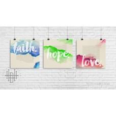 Poster (3er-Set) faith, hope, love (Aquarell)