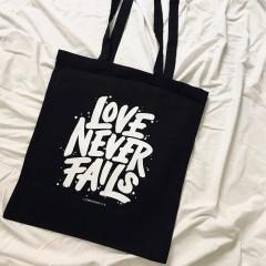 Stoffbeutel Love never fails (schwarz oder natur)