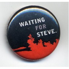 Button Waiting for Steve schwarz-rot